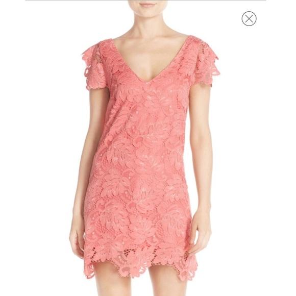 Bb Dakota Jacqueline Coral Lace Shift Dress